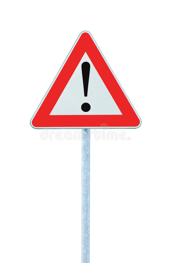 O outro perigo que adverte adiante o sinal de estrada Pólo isolado foto de stock royalty free