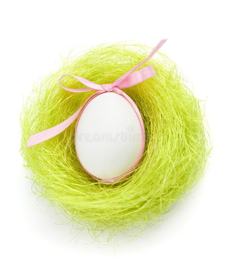 O ovo com curva está no ninho da fibra verde do sisal foto de stock
