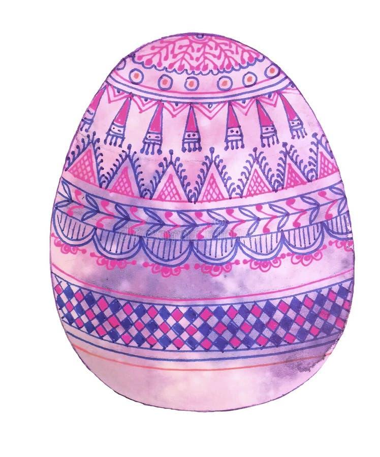 O ovo pintado à mão cor-de-rosa é decorado com testes padrões geométricos fotos de stock