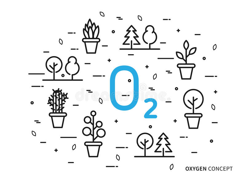 O2 oxygen linear vector illustration with house plants royalty free illustration