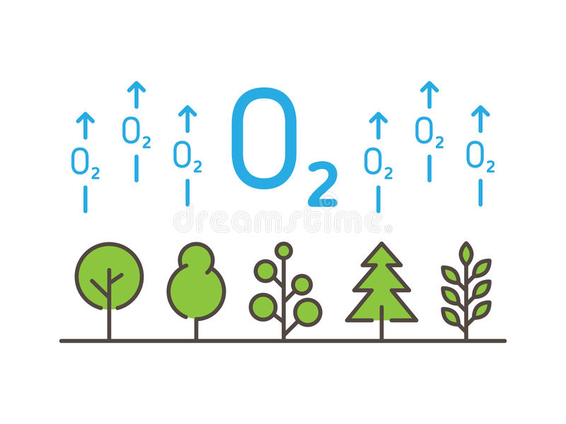 O2 oxygen linear vector illustration with trees stock illustration