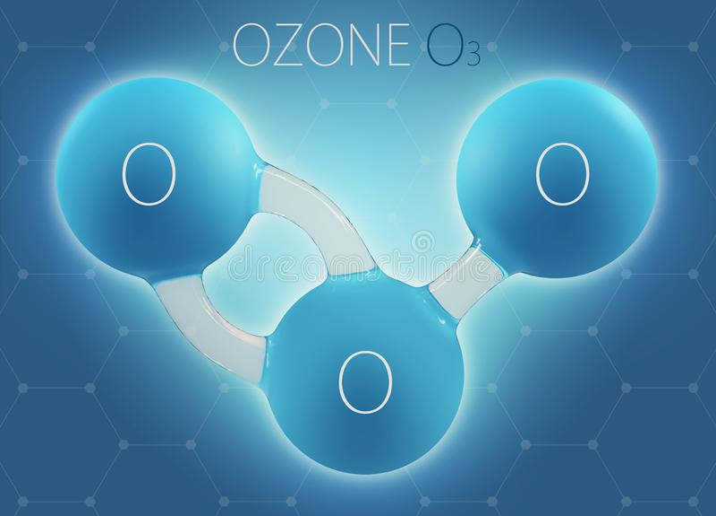O3 ozon 3d molecule op abstracte achtergrond wordt geïsoleerd die stock fotografie