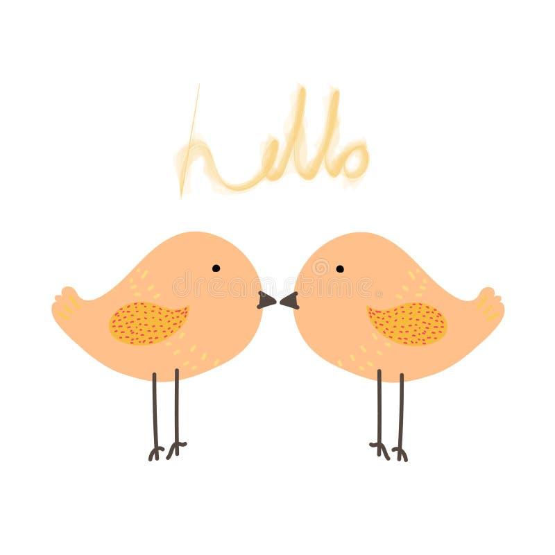O pássaro bonito com diz olá! ilustração stock