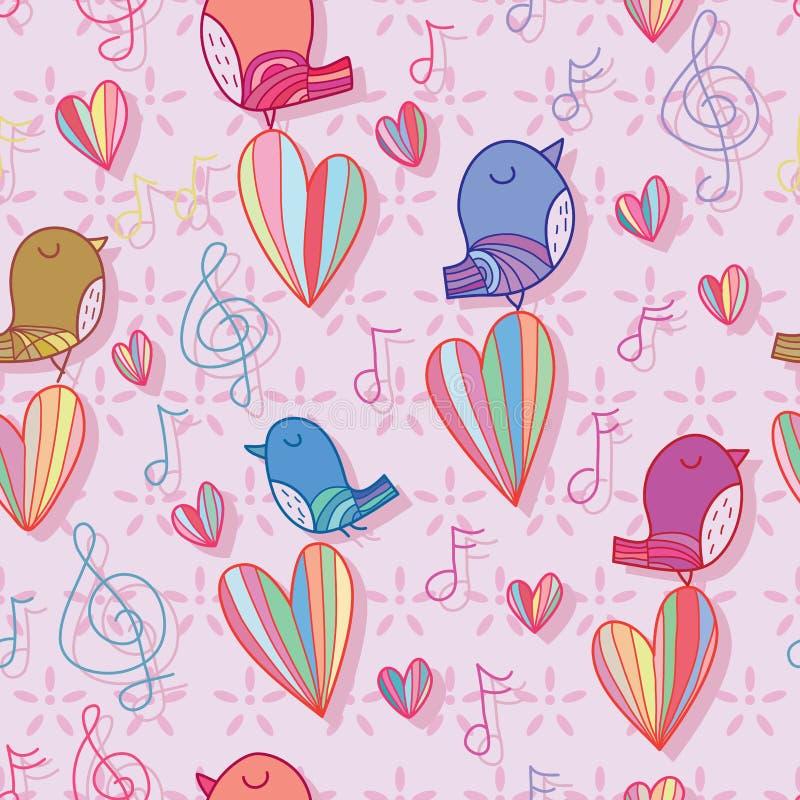 O pássaro canta a cor pastel do amor da nota da música o teste padrão sem emenda ilustração stock