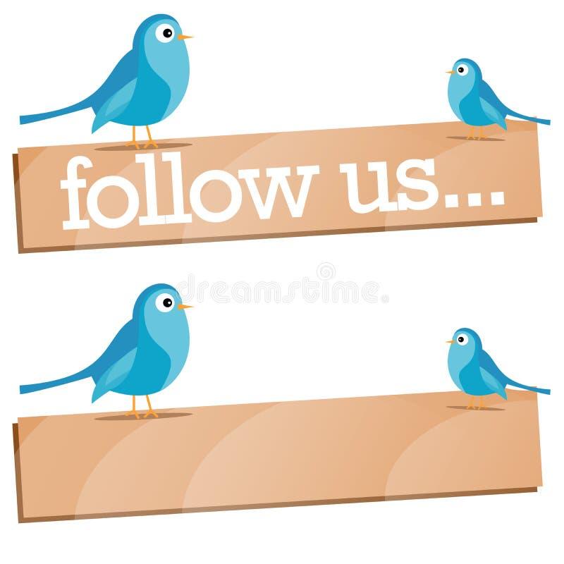 O pássaro do Twitter com segue-nos sinal ilustração stock