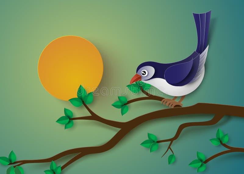 O pássaro empoleirou-se em um ramo de uma árvore ilustração do vetor