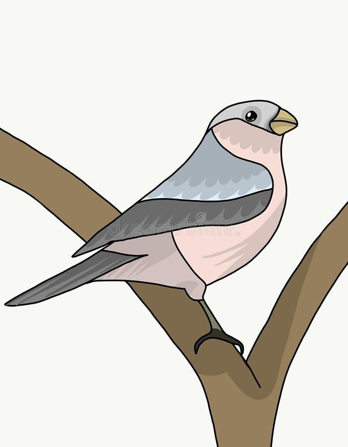 O pássaro entre os ramos ilustração stock