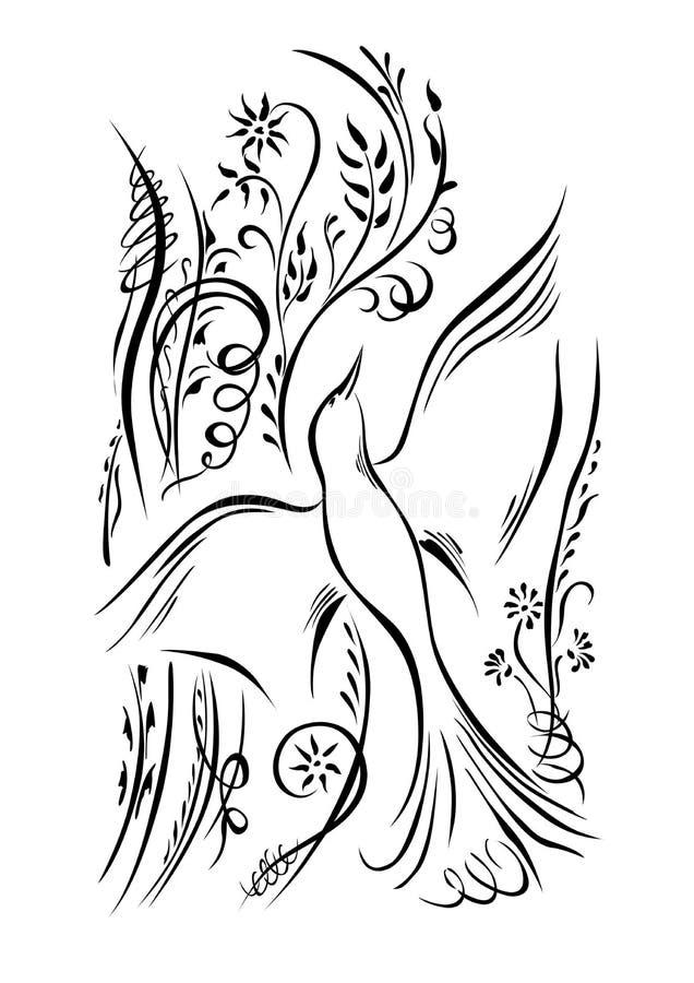 O pássaro está voando Plantas de roda dos elementos da caligrafia ilustração do vetor