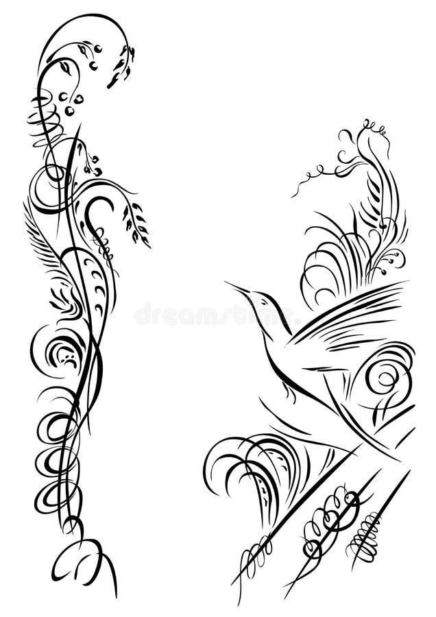 O pássaro está voando Silhueta da grama e do flowesr isolada ilustração stock