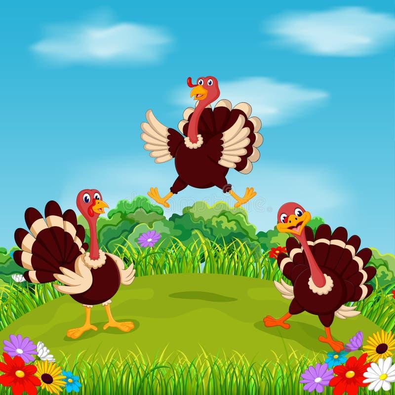 O pássaro galhardo do peru que joga e que voa no jardim com o céu bonito ilustração stock