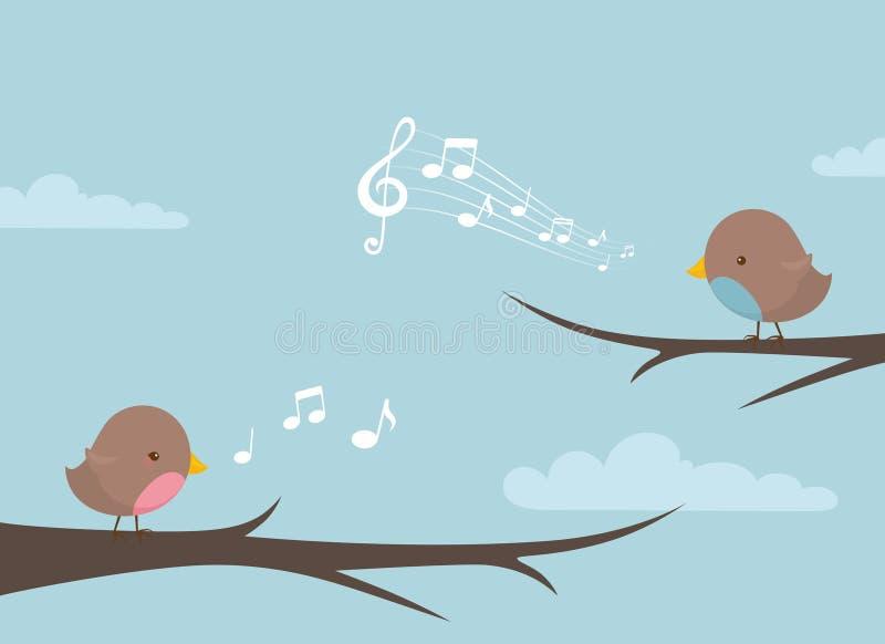 O pássaro nota o ramo imagens de stock royalty free