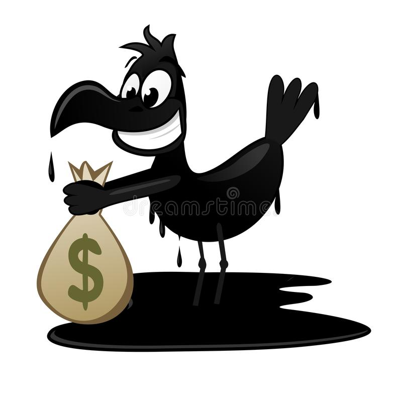 O pássaro oleoso começ o dinheiro