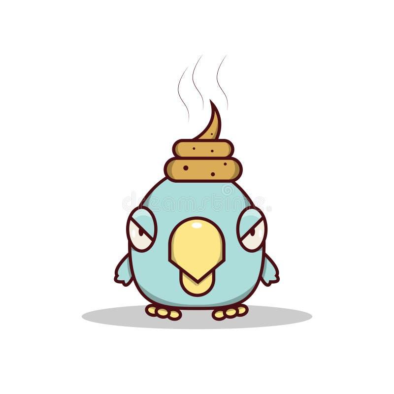 O pássaro pequeno azul isolado dos desenhos animados obtém afortunado em sua cabeça ilustração royalty free