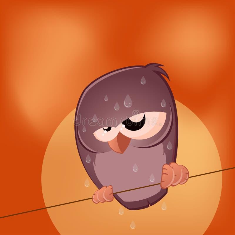 O pássaro solene dos desenhos animados está suando ilustração stock