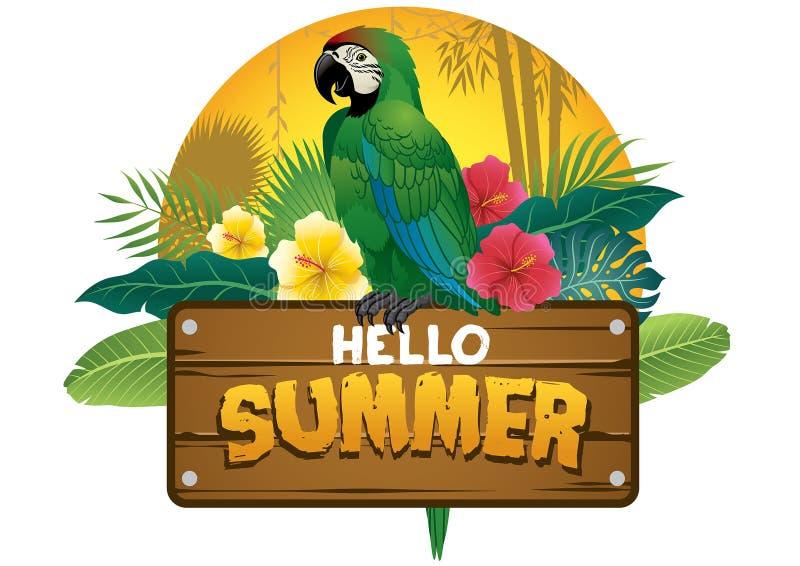 O pássaro verde do papagaio senta-se no sinal de madeira da prancha ilustração royalty free