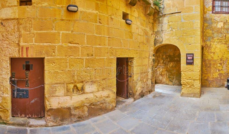 O pátio da prisão velha, Rabat, Victoria, Gozo, Malta imagem de stock royalty free