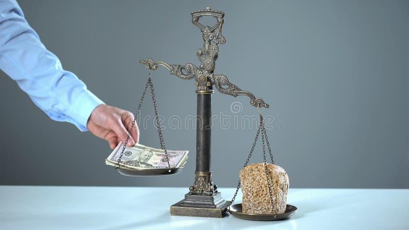 O pão aumenta dólares em escalas, conceito da pobreza, preços em subida para fundamentos fotografia de stock royalty free