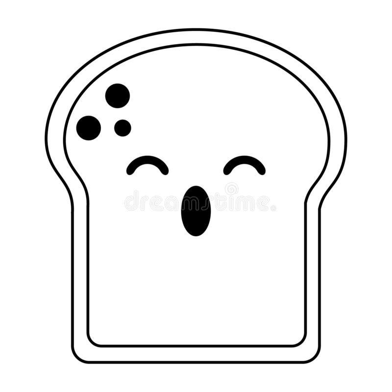 O pão cortou desenhos animados surpreendidos do kawaii em preto e branco ilustração royalty free