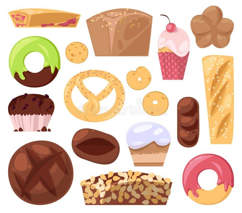 O pão da pastelaria do cozimento do vetor da padaria ou o naco e a filhós cozida para o queque e os queques da ilustração do café ilustração stock