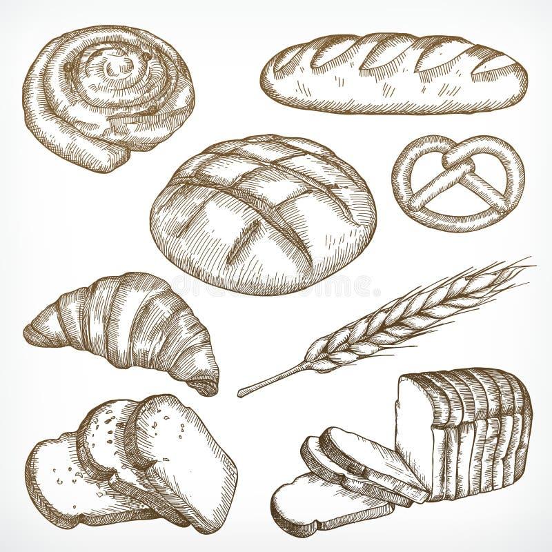O pão esboça o desenho da mão ilustração do vetor