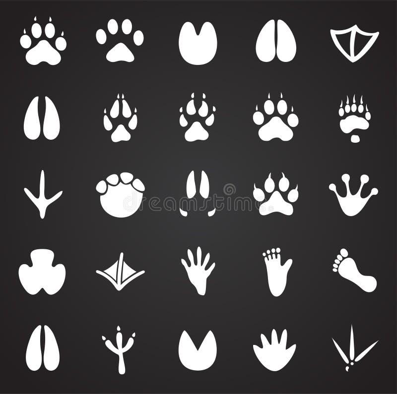 O pé animal imprime os ícones ajustados no fundo preto para o gráfico e o design web, sinal simples moderno do vetor Conceito do  ilustração royalty free