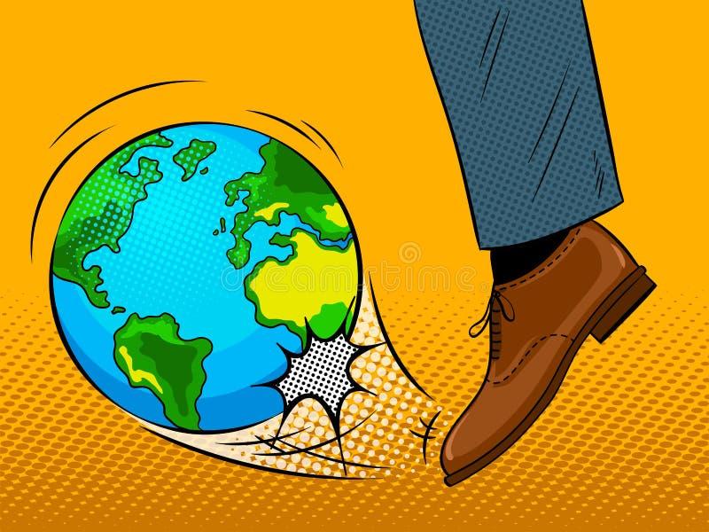 O pé bate o vetor do pop art do globo da terra ilustração stock