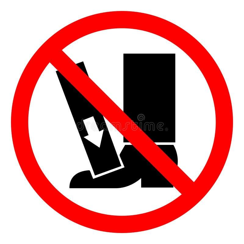 O pé do perigo de ferimento esmaga a força de cima do sinal do símbolo, ilustração do vetor, isolado na etiqueta branca do fundo  ilustração stock