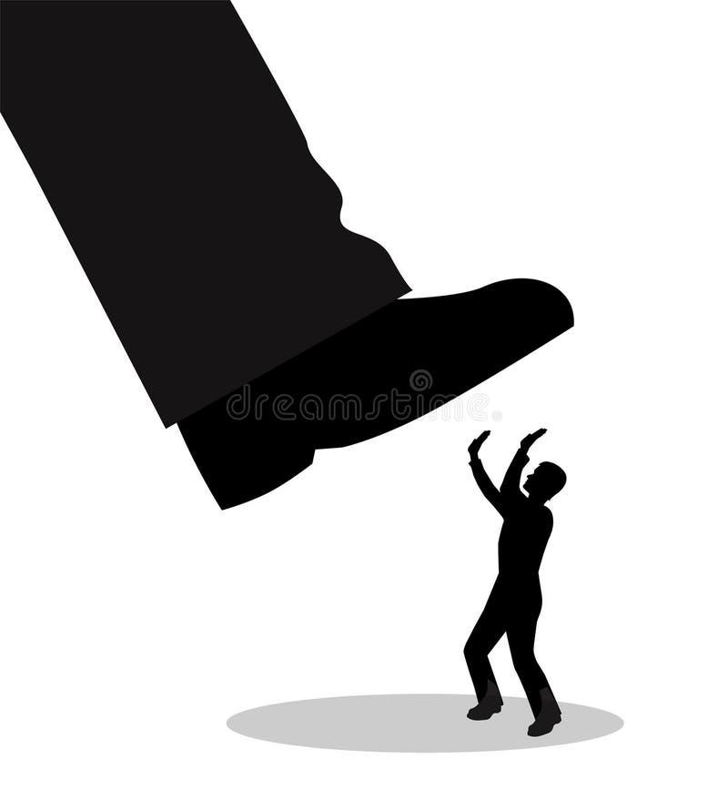 O pé grande está indo esmagar um homem ilustração do vetor
