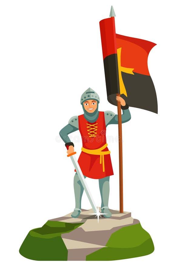 O pé knights o portador templar da bandeira ilustração do vetor