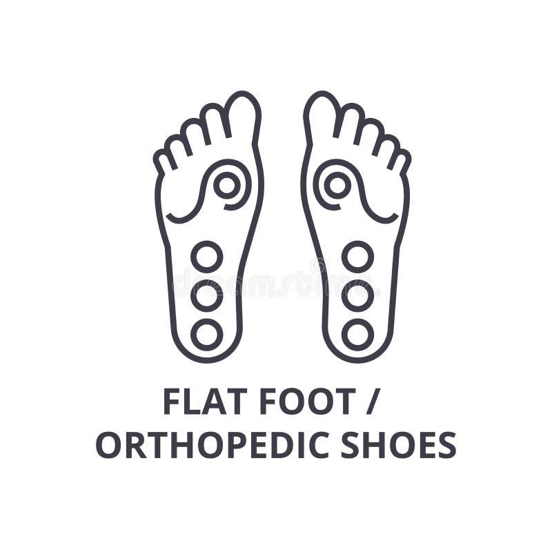 O pé liso, sapatas ortopédicas dilui a linha ícone, sinal, símbolo, illustation, conceito linear, vetor ilustração stock