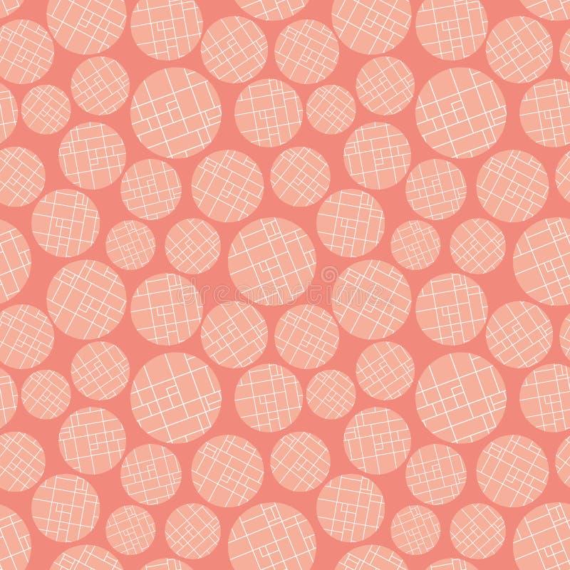 O pêssego moderno e a grade colorida branca textured círculos no fundo cor-de-rosa morno Teste padr?o abstrato sem emenda do veto ilustração do vetor
