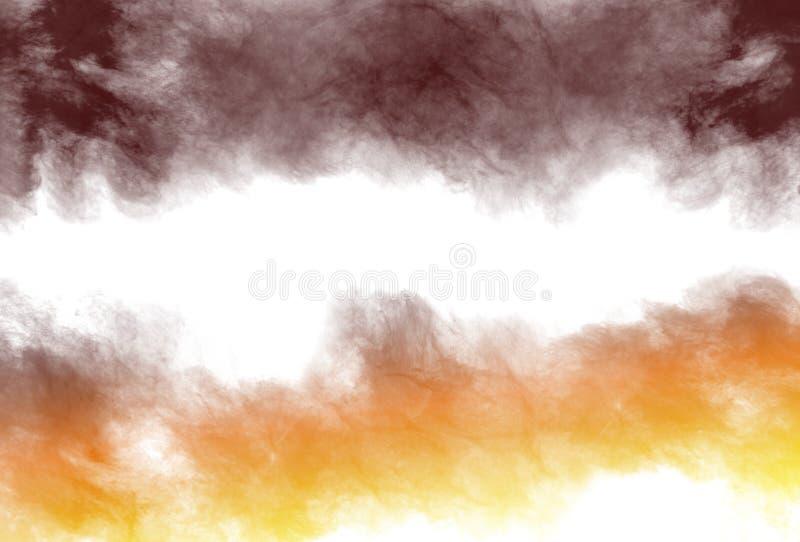 O pó abstrato da cor do marrom amarelo splatted no fundo branco imagens de stock