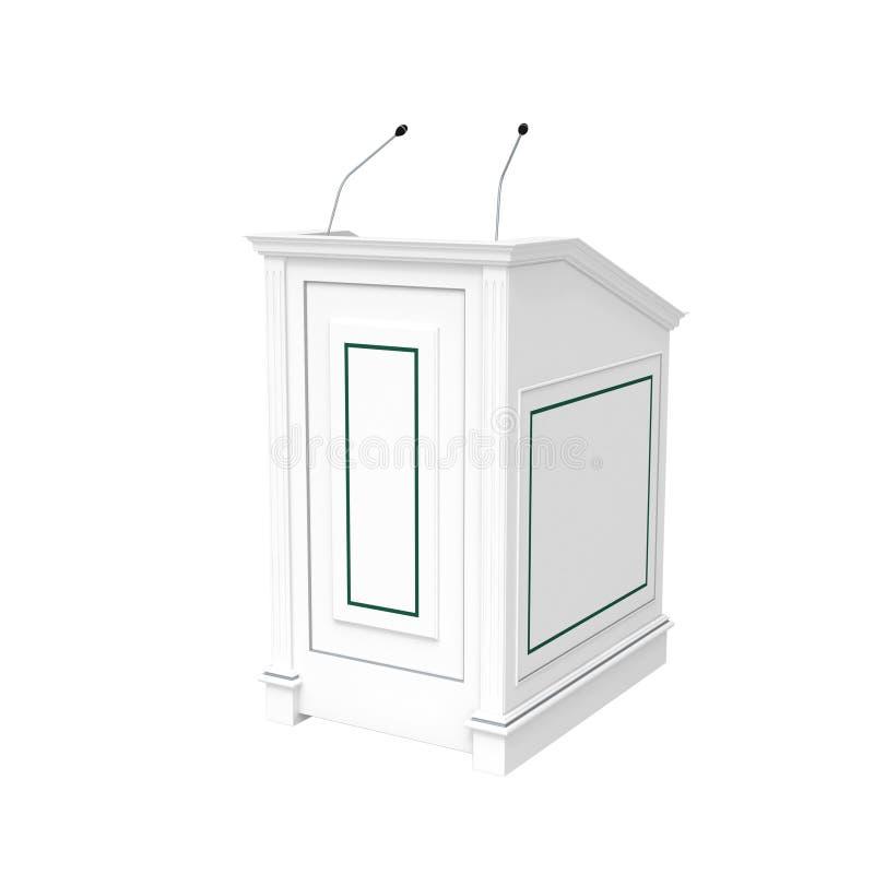 O pódio de madeira branco, metade-gira isolado no branco ilustração stock