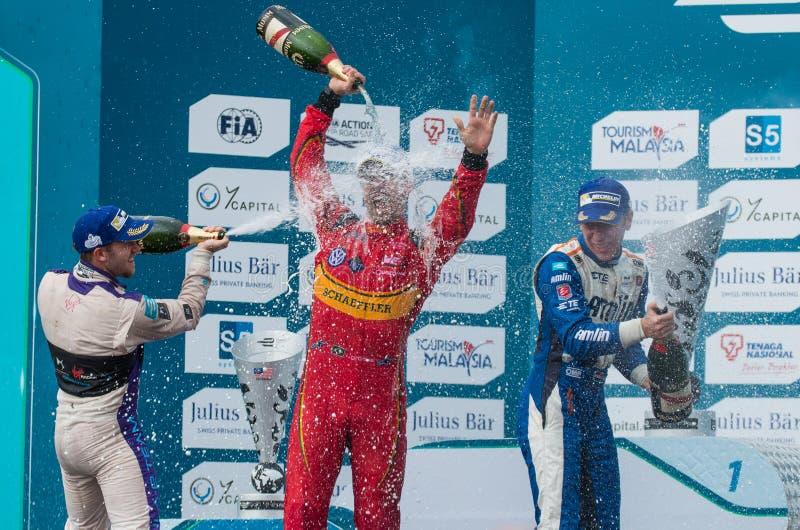 O pódio dos vencedores, fórmula E - ePrix de Putrajaya, Malásia, 2015 foto de stock royalty free