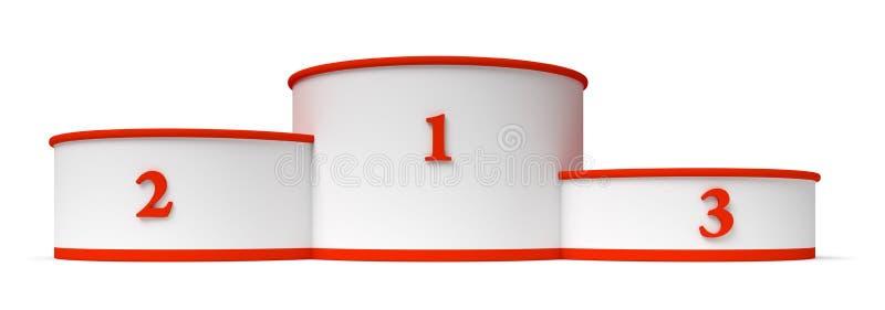 O pódio redondo dos vencedores com vermelho vazio coloca a opinião do fromt do close up ilustração do vetor