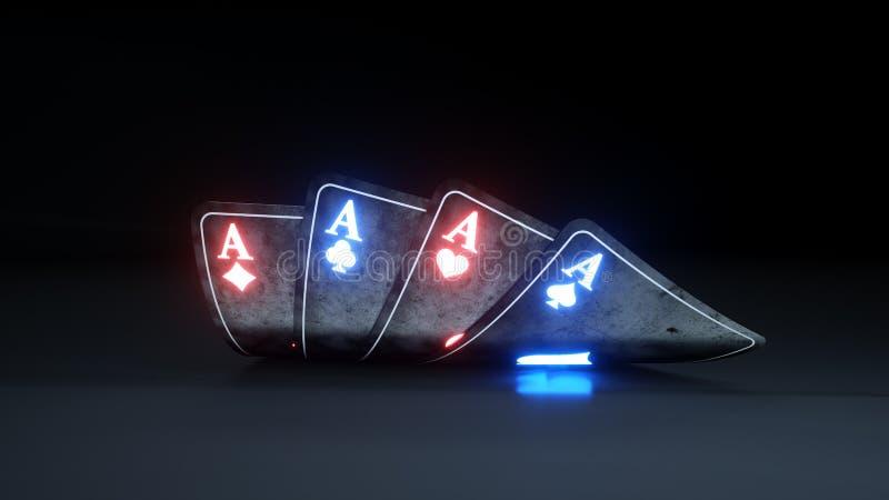 O pôquer de jogo do casino carda o conceito com de néon de incandescência isolado no fundo preto - ilustração 3D ilustração do vetor