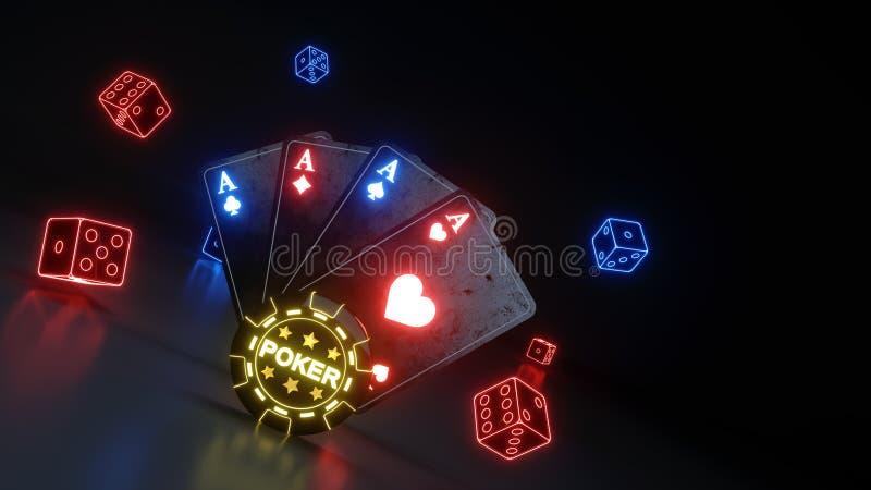 O pôquer de jogo do casino carda e corta o conceito com as luzes de néon de incandescência isoladas no fundo preto - ilustração 3 ilustração stock