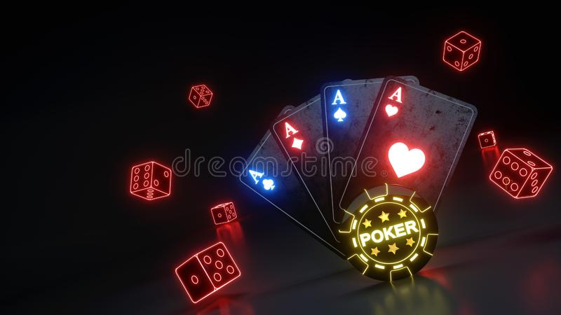 O pôquer de jogo do casino carda e corta o conceito com as luzes vermelhas de néon de incandescência isoladas no fundo preto - il ilustração do vetor