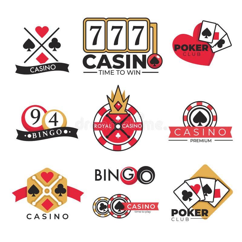 O pôquer de jogo e o bingo do clube do casino isolaram ícones ilustração stock
