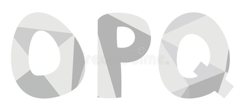 O, p, grupo cinzento do vetor da letra do alfabeto de q isolado no fundo branco ilustração do vetor