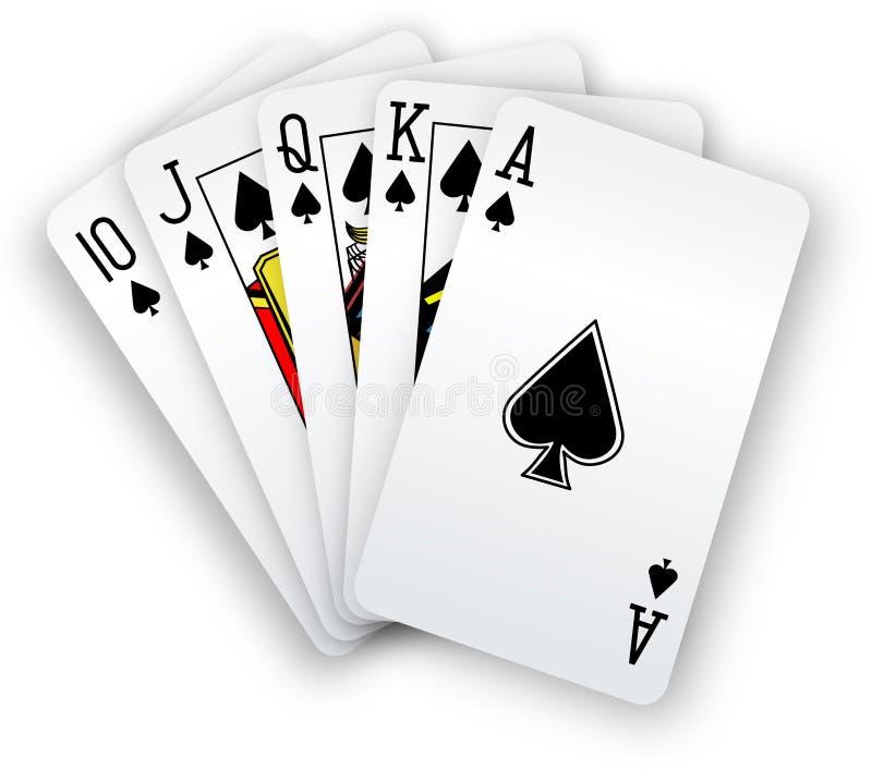 O pôquer carda a mão das pás do resplendor reto ilustração do vetor