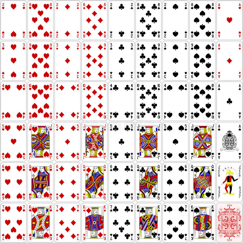 O pôquer carda o projeto clássico da cor do conjunto completo quatro ilustração do vetor