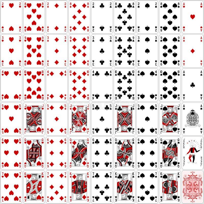 O pôquer carda o projeto clássico de duas cores do conjunto completo ilustração stock