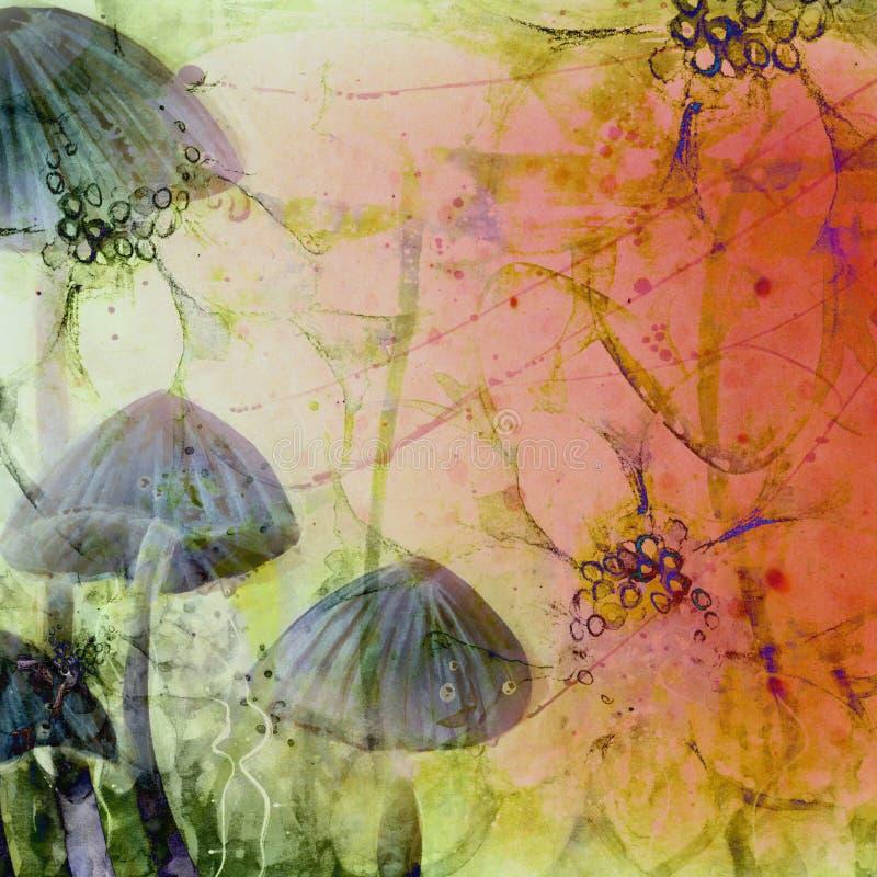 O país das maravilhas surreal abstraiu tampões do cogumelo do Grunge ilustração royalty free
