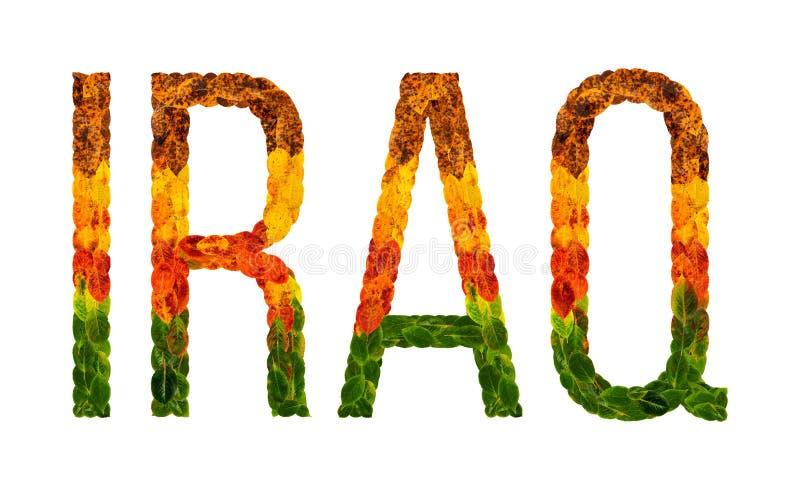 O país de Iraque da palavra é escrito com folhas em um fundo isolado branco, uma bandeira para imprimir, tornar-se criativo imagens de stock