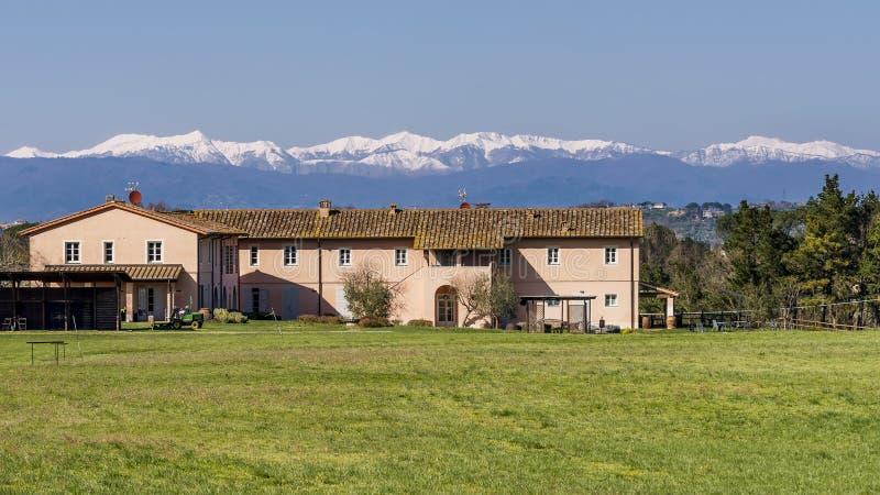 O país e o golfe recorrem no campo contra montanhas nevado, Pontedera de Tuscan, Pisa, Toscânia, Itália imagens de stock royalty free