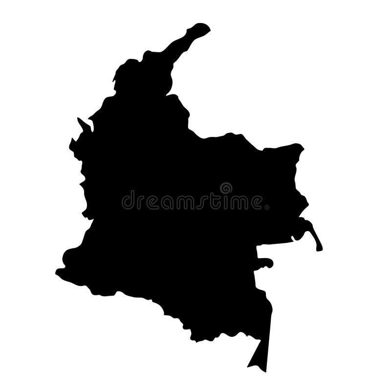 O país preto da silhueta limita o mapa de Colômbia no backgr branco ilustração stock