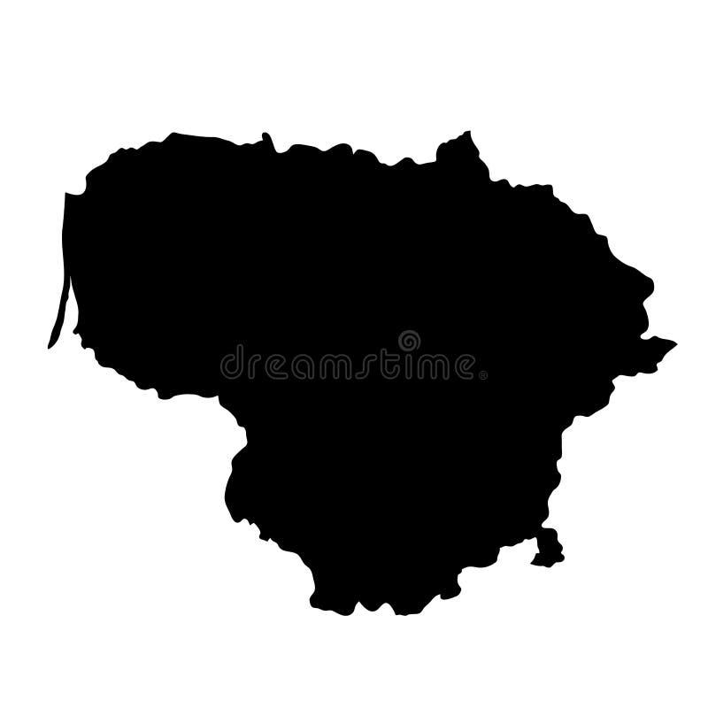O país preto da silhueta limita o mapa de Lituânia no backg branco ilustração royalty free
