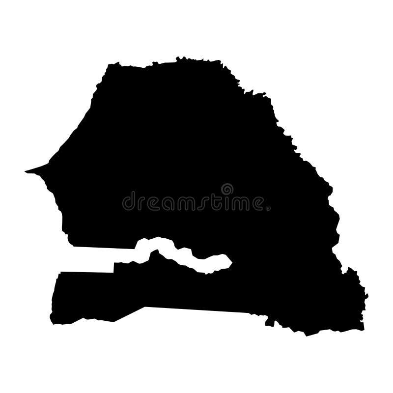 O país preto da silhueta limita o mapa de Senegal no backgro branco ilustração royalty free