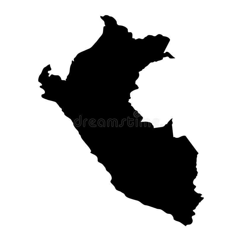 O país preto da silhueta limita o mapa do Peru no fundo branco ilustração stock